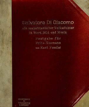 Cover of: Salvatore Di Giacomo | Vossler, Karl